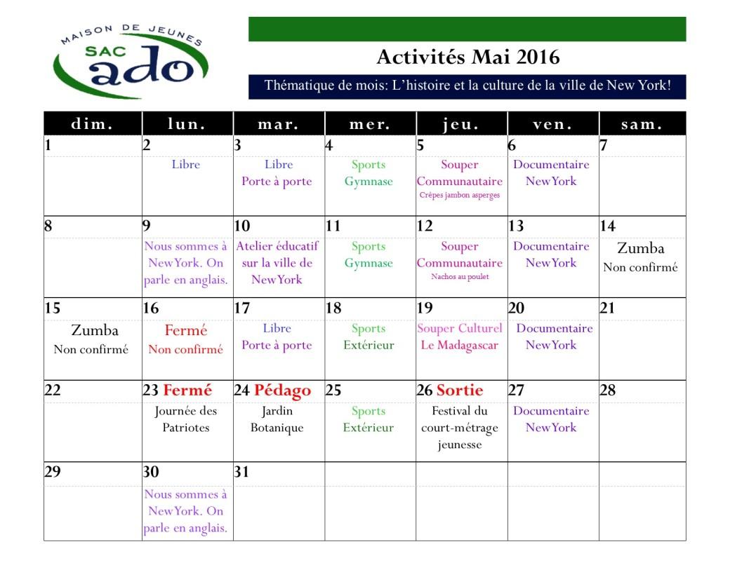 Activités mai 2016